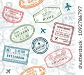 wanderlust background. passport ... | Shutterstock .eps vector #1092786797