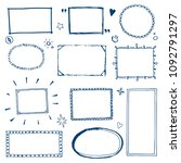 hand drawn set of simple frame... | Shutterstock .eps vector #1092791297