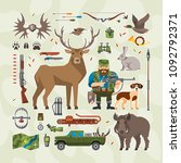 vector hunting set with flat... | Shutterstock .eps vector #1092792371