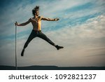 pole dance fit man exercising... | Shutterstock . vector #1092821237