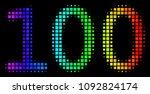 pixelated bright halftone 100... | Shutterstock .eps vector #1092824174