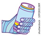 decorate hand with cold soda can | Shutterstock .eps vector #1092831389