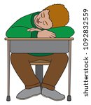a young student is asleep at... | Shutterstock .eps vector #1092832559