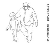grandfather walks with his... | Shutterstock .eps vector #1092843191