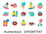 sweet summer   cute ice cream ... | Shutterstock .eps vector #1092847547