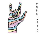 doodle decorate hand with rock... | Shutterstock .eps vector #1092851729
