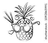 grunge tropical pineapple fruit ... | Shutterstock .eps vector #1092865991