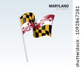 waving flag of maryland state... | Shutterstock .eps vector #1092867281