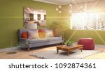 interior living room. 3d... | Shutterstock . vector #1092874361