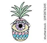 doodle tropical pineapple fruit ... | Shutterstock .eps vector #1092876245