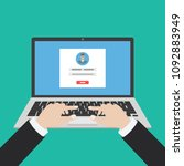 laptop with login form page on... | Shutterstock .eps vector #1092883949