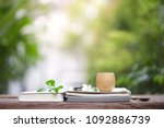 brown vintage wooden cup with... | Shutterstock . vector #1092886739