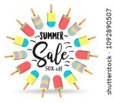 summer sale with popsicle on... | Shutterstock .eps vector #1092890507