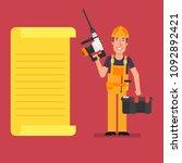 builder stands near paper list...   Shutterstock .eps vector #1092892421