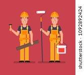 builder holds hammer wooden...   Shutterstock .eps vector #1092892424