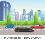 vector illustration city street ... | Shutterstock .eps vector #1092892904