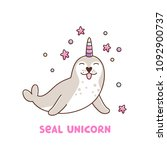seal with bright horn unicorn... | Shutterstock .eps vector #1092900737