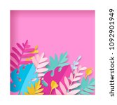 trendy summer tropical leaves... | Shutterstock .eps vector #1092901949