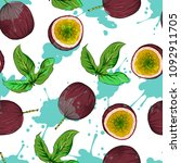 passion fruit seamless pattern  ... | Shutterstock .eps vector #1092911705