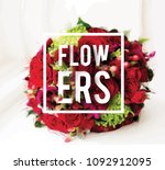 bouquet of beautiful roses on a ... | Shutterstock . vector #1092912095