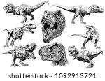 graphical set of dinosaurs... | Shutterstock .eps vector #1092913721