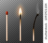 matches realistic 3d. burning... | Shutterstock .eps vector #1092921104