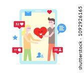 virtual love. online dating app ...   Shutterstock .eps vector #1092926165