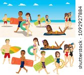 summer beach people collection... | Shutterstock .eps vector #1092927884