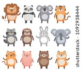 cute smiling animals set. lion  ... | Shutterstock .eps vector #1092938444