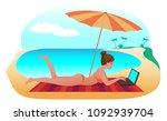 freelancer girl sunbathes on a... | Shutterstock .eps vector #1092939704