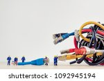 tangled bunch of network cables | Shutterstock . vector #1092945194