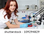 young female lab technician...   Shutterstock . vector #109294829