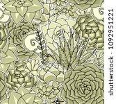 vector succulents seamless... | Shutterstock .eps vector #1092951221