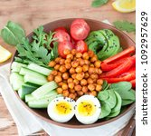 buddha bowl  healthy and...   Shutterstock . vector #1092957629