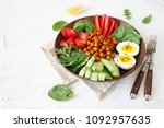 buddha bowl  healthy and...   Shutterstock . vector #1092957635