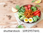 buddha bowl  healthy and...   Shutterstock . vector #1092957641