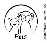 vector icon cat and dog. | Shutterstock . vector #1092958427