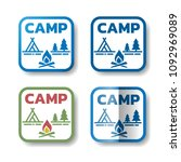camp stickers. set of 4... | Shutterstock .eps vector #1092969089