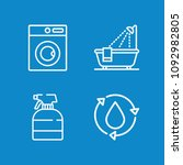 outline washing icon set such... | Shutterstock .eps vector #1092982805