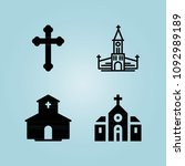 filled church 4 vector icons...