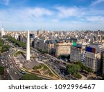 Aerial view of Buenos Aires city with Obelisk and 9 de julio avenue - Buenos Aires, Argentina