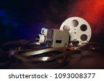 retro 8 mm movie camera with a... | Shutterstock . vector #1093008377