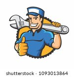 handyman holding the wrench in... | Shutterstock .eps vector #1093013864