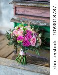 wedding bouquet with pink and... | Shutterstock . vector #1093018787