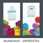 happy birthday celebration card ... | Shutterstock .eps vector #1093023761