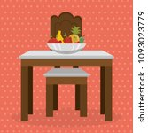 table with fruits dinning room... | Shutterstock .eps vector #1093023779
