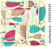 fish pattern hand drawn....   Shutterstock .eps vector #1093029329