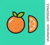 fresh orange with slice  flat... | Shutterstock .eps vector #1093029611