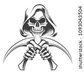 Skull In A Hood With Scythe...