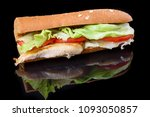 fried fish sandwich with tomato ... | Shutterstock . vector #1093050857